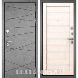 Входная дверь со стеклом Бульдорс STANDART-90 Штукатурка серая 9S-130/Дуб жемчужный CR-3