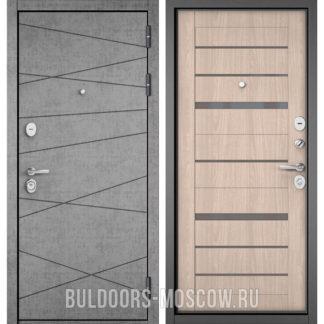 Железная дверь Бульдорс STANDART-90 Штукатурка серая 9S-130/Ясень ривьера Айс CR-1 стекло серое