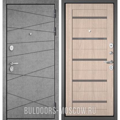 Входная дверь со стеклом Бульдорс STANDART-90 Штукатурка серая 9S-130/Ясень ривьера Айс CR-3