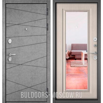 Железная дверь с зеркалом Бульдорс STANDART-90 Штукатурка серая 9S-130/Ларче бьянко 9P-140