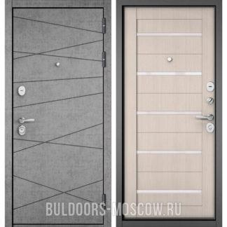 Металлическая дверь со стеклом Buldoors STANDART-90 Штукатурка серая 9S-130/Ларче бьянко CR-3