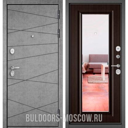 Стальная дверь с зеркалом Бульдорс STANDART-90 Штукатурка серая 9S-130/Ларче шоколад 9P-140