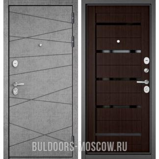 Входная дверь Бульдорс STANDART-90 Штукатурка серая 9S-130/Ларче шоколад CR-3 с черным стеклом