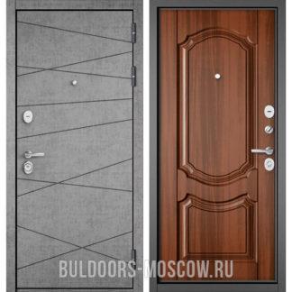 Металлическая дверь Бульдорс STANDART-90 Штукатурка серая 9S-130/Орех лесной 9SD-4